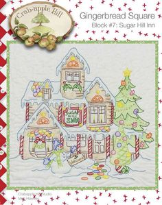 Crabapple Hill Quilt Pattern - Hand Embroidery  Gingerbread Square Block 7 Sugar Hill Inn 2518 on Etsy, $6.75