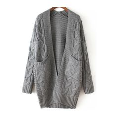 Grey Long Sleeve Cable Knit Pockets Cardigan ($27) ❤ liked on Polyvore featuring tops, cardigans, outerwear, jackets, sweaters, grey cardigan, long sleeve cardigan, pocket cardigan, gray top and chunky cable knit cardigan