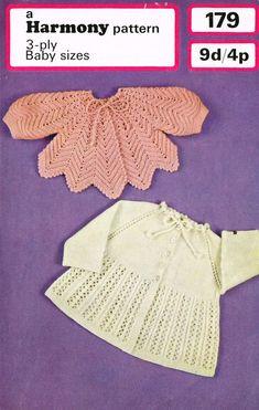Harmony 179 baby matinee coat  vintage knitting and by Ellisadine, £1.00