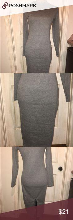 🌺NEW🌺NWT COTTON MID CALF T-SHIRT DRESS SZ MEDIUM NWT GREY SLIMMING COTTON FABRIC Dresses