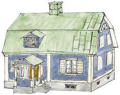 Brutet tak. Målad stålplåt. 20-talsklassicism Swedish Style, My House, Villa, Architecture, Homes, Inspiration, Arquitetura, Biblical Inspiration, Houses