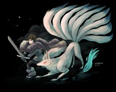 Eva Vilhelmiina Eskelinen : Jon Snow from Game of Thrones/ A Song of Ice and Fire and shiny Ninetales, Pokémon. My version of Jon Snow's design is more how he is in the books, 14 year old teenage