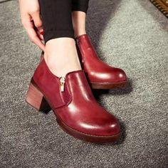 Venta caliente de moda estilo británico Wintage mujer de Oxford botines con cremallera lateral zapatos de la bota para para gruesos talón bajo zapatos de la escuela en Oxfords de Calzado en AliExpress.com | Alibaba Group
