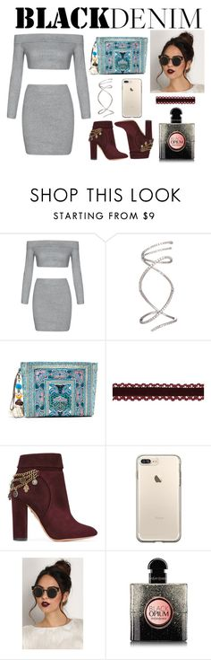 """""""Untitled #227"""" by crazyfoolfashion ❤ liked on Polyvore featuring JADEtribe, Aquazzura and Yves Saint Laurent"""