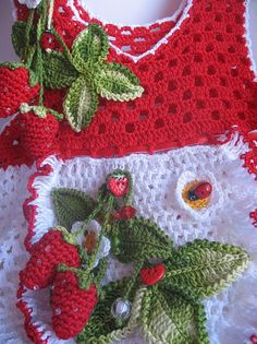 Summer Dress in Red and White with Strawberry for by ninellfux