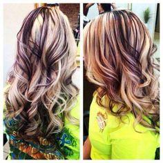 Blonde with dark streaks, lobe it