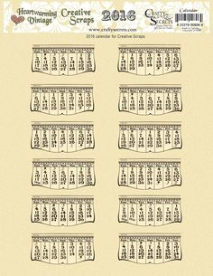 Get Crafty Secrets 4 Free Printable 2016 Vintage Calendars plus - Color Me Art Calendar Template and see Inspiring Calendar Ideas. Get the full size files from the Blog link with 2 styles in Beige, Aged and White.