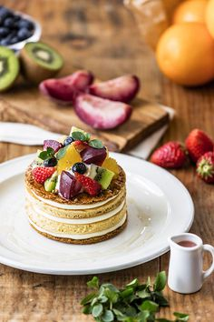 From the JS pancake cafe, the early summer limited menu that used luxury French peaches and summer vegetables - fashion press Food Design, Easy Desserts, Dessert Recipes, Dessert Simple, Pineapple Upside Down Cake, Japanese Sweets, Sweet Cakes, Food Menu, Chocolate Desserts