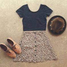 hat, simple t-shirt, floral high waisted skirt, and those sweet shoes.