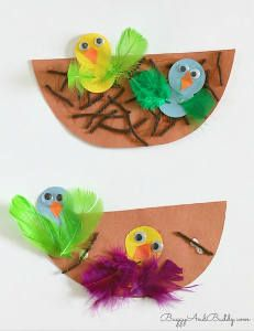 Spring Bird Nest Paper Crafts- also a great way to use up your leftover craft supplies!