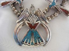 Early Tommy Singer Peyote Bird Squash Blossom Necklace 1960's #Unbranded