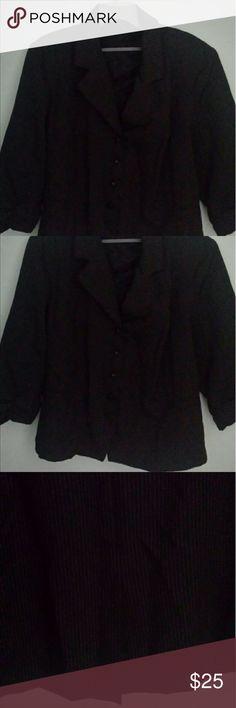 Black skirt suit with white pinstripes Black and white pinstripe skirtsuit with 3/4 length sleeves. Dresses Midi