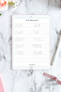 Can't wait to start practicing my hand lettering skills with this free printable worksheet. She includes 10 different styles of modern calligraphy and type to practice the word Fall! #byamandakay #fall #freeworksheet #printable #brushlettering #handlettering Calligraphy Tutorial, Hand Lettering Tutorial, Doodle Lettering, Brush Lettering, Typography, Diy Projects Arts And Crafts, Alphabet Practice Sheets, Free Printable Worksheets, Printables