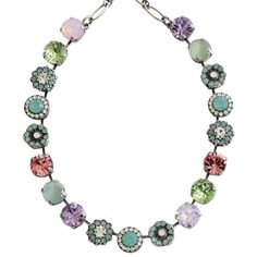 """Mariana Silver Plated Large Flower Shapes Swarovski Crystal Necklace, 18"""" Pina Colada 3084 1063. Available at www.regencies.com"""