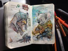 Number 306 of Kenneth Rocafort's 365 day sketch project. Killer Koala!