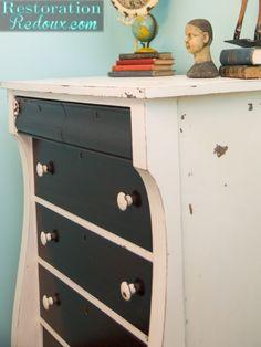 Ivory Two Toned Dresser http://www.restorationredoux.com/?p=9597