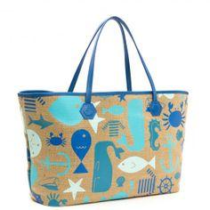 Blue sea life duchess medium east/west tote by Johnathan Adler Men's Backpacks, Nautical Fashion, Nautical Style, Jute Bags, Jonathan Adler, Louis Vuitton Neverfull, Modern Fashion, Tote Handbags, Fashion Accessories
