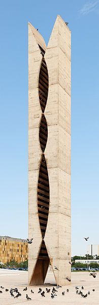 The dovecote designed in 1961 by Oscar Niemeyer on the Praça dos Três Poderes in Brasília, Brazil. Material: concrete.