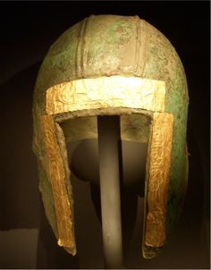 Macedonian Illyrian style helmet, adorned with gold leaf.