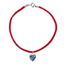 This stylish unisex bracelet is made of Kabbalah Red String and comes with a Sterling Silver heart & blue Nazar glass Lucky Eye Charm.
