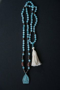 Blue Patina Buddha Mala long necklace // PATINA Thai BUDDHA