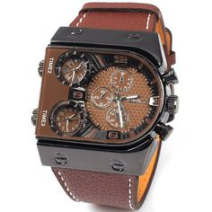 Oulm Multi Function 3 Movt Quartz Leather Wristwatch Men Military... ($13) ❤ liked on Polyvore featuring men's fashion, men's jewelry, men's watches, mens military watches, mens sport watch, mens leather watches and mens watches jewelry