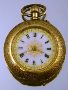 Beautiful-Solid-14K-Gold-ENAMEL-PANSY-and-Diamond-Set-Ladies-Fob-Watch-c1890