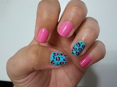 pink and blue leopard