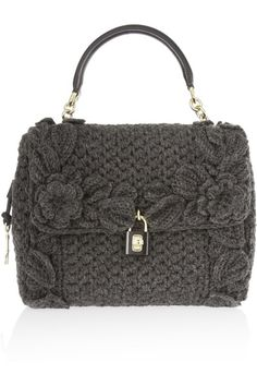 Charcoal crochet-knit wool Black leather and chain top handle, detachable leather shoulder strap (Lamb) Key fob, leather base, gold hardware, feet Internal zipped pocket, two pouch pockets Fully lined in black leather and leopard-print cotton-twill Twist lock padlock fastening  Comes with dust bag