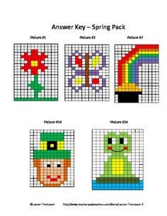 Mystery Picture Graphs - Spring Pack - flower, butterfly, rainbow, St. Patrick's Day leprechaun, and frog.
