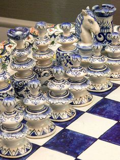 Ceramic Faience #chess set in the Regence style France 19th to 20th century CE