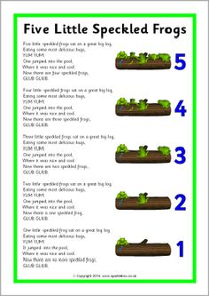 While singing song, have bowl of water and have students put frogs in as they sing! They love seeing the frogs splash! Five Little Speckled Frogs song sheet - SparkleBox Kindergarten Songs, Preschool Music, Number Songs Preschool, Preschool Spring Songs, Preschool Fingerplays, Frogs Preschool, Preschool Classroom, Preschool Activities, Circle Time Ideas For Preschool