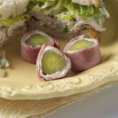 Ham & Pickle Wraps Recipe A favorite party treat! (Or just for snacking on!!) lay ham or turkey flat, spread a layer of cream cheese, roll a dill pickle up in the ham or turkey, and slice!!! (better if cold).