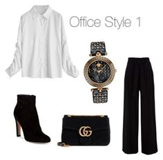 """""""Classic Office Style 1"""" by sahinalara on Polyvore featuring Gianvito Rossi, Gucci and Versace"""