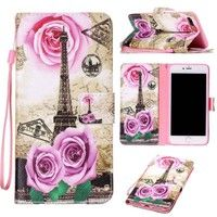 Wish | Fashion Rose Tower Painted Pattern Flip Cover Holster PU Leather Wallet Card Holder Shockproof Stand Mobile Phone Bag Case For iPhone 7 7 Plus 5 5S SE 6 6S Plus /Samsung Galaxy S5 S6 S6 Edge S6 Edge Plus S7 S7 Edge J3 J310 J5 J510 J710 A310 A510 On5 /Sony /Huawei