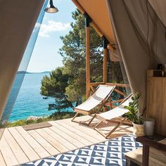 Modern and Peaceful Island Lodge in Adriatic Sea, Croatia Croatian Coast, Croatian Islands, Places In Europe, Places To Go, Bell Tent, Island Resort, Porch Swing, Outdoor Decor, Summer