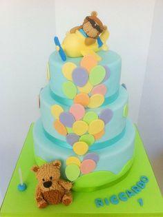cupcakes Taste of Home's Cookie Countdown: Rainbow Cookies! Pie Cake, No Bake Cake, Fondant Cakes, Cupcake Cakes, Mini Cakes, Baby Cake Design, Christening Cake Boy, 1st Birthday Cakes, Balloon Birthday