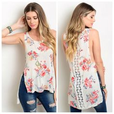Floral print shirtLAST ONE!! This sleeveless lightweight top features floral print all over, crochet detail along center front and has slit details on both sides. If you are unsure of what size to order,  just ask and I can provide measurements!! Material: 96% Rayon, 4% Spandex NO TRADES ✔️Reasonable offers considered. Tops Tank Tops