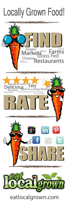 Find, Rate & Share Locally Grown Food! Farms, Farmers, Markets, Co-ops, Restaurants, Artisans and more...