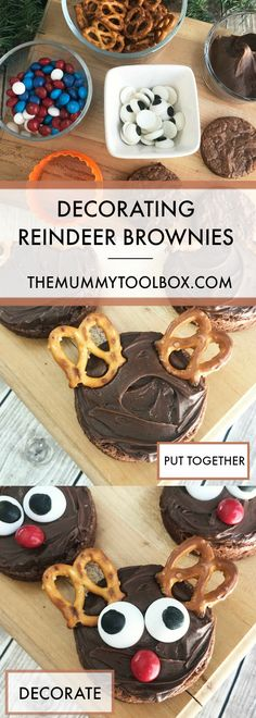 We look at how to turn an ordinary tray of brownies into a Christmas treat for the kids. Time for an easy activity and decorating reindeer brownies. Christmas Eve Dinner, Christmas Treats, Quick Recipes, Cake Recipes, Good Food, Yummy Food, Tasty, Recipe Cover, New Cookbooks