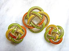 Celtic knot demi parure set of brooch and clip on earrings.  Autumn coloured design in green brown and gold