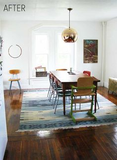 I'm not usually into the whole western vibe, but I'm kinda loving that rug. Dining room, vintage, eclectic.