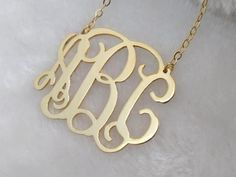 Gold Monogram Necklace 1 Inch Custom Initial NecklaceInitial