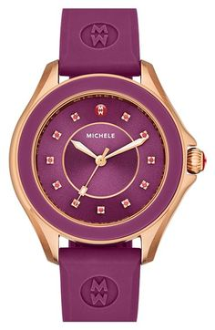Free shipping and returns on MICHELE 'Cape' Topaz Dial Silicone Strap Watch, 40mm at Nordstrom.com. Eleven colorful, sparkling topaz stones mark the sunray dial of a casually luxurious watch set on a wear-anywhere silicone strap. As always, you have the option to customize your timepiece with any of MICHELE's equally premium 18mm straps to create a look that fits your personality and lifestyle.