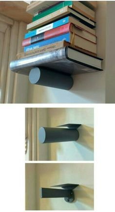 balancing the books made with steel tube and plate invisible bookshelf