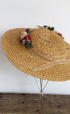vintage straw hat wide brim straw by sonnetandbough 1930s Hats, Costume Hats, Costumes, Crazy Hats, Boater Hat, Kentucky Derby Hats, Fancy Hats, Hat Hairstyles, Hat Making