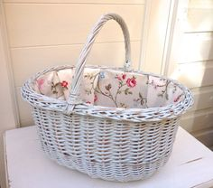 Vintage Shopping Basket lined with oilcloth fabric, Handpainted distressed Basket, Floral Fabric lined Wicker Basket, Handmade in UK by ChandeliersandRoses on Etsy
