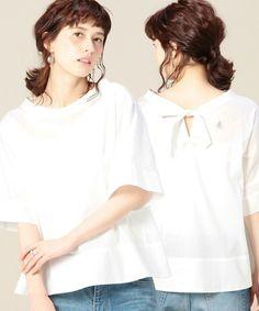 BEAUTY&YOUTH WOMENS(ビューティアンドユース ウィメンズ)のBY コットンバックリボン5分袖ブラウス(シャツ/ブラウス)|ホワイト
