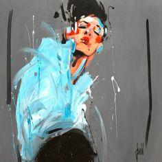 """""""Elégance bleue"""" - acrylique sur toile - 80x80cm - David Jamin #DavidJamin #painting"""