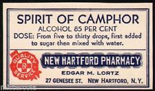 Vintage label SPIRIT OF CAMPHOR New Hartford Pharmacy New York unused n-mint+